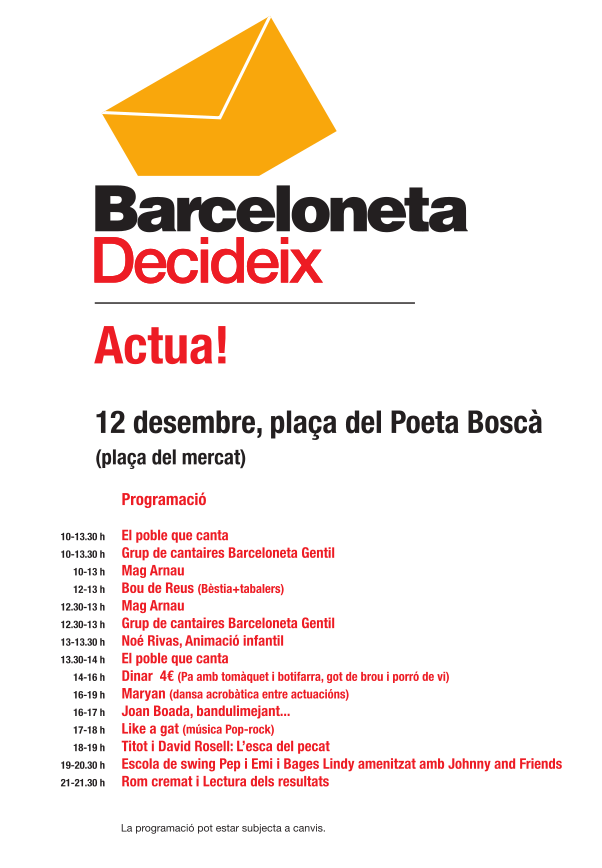 Cartell de l'inici de les consultes a Barcelona (12 desembre 2010)